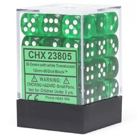 Chessex Signature 12mm D6 Dice Block: Green & White Translucent