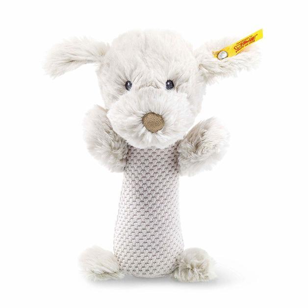 Steiff: Soft Cuddly Friends - Baster Dog Rattle (Light Grey)