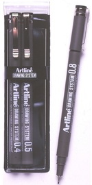 Artline Drawing System Pen 4-5-8 Black (3 Pack)