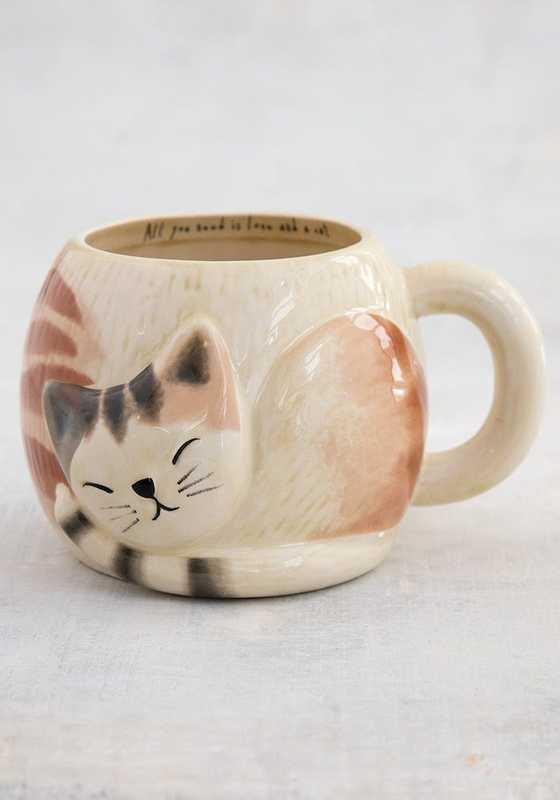Natural Life: Folk Mug - Sleeping Cat