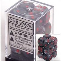 Chessex Signature 16mm D6 Dice Block: Velvet Black/Red