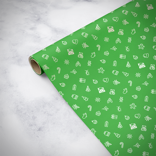 Gorilla Gift: Wrapping Paper - Christmas Green (5m)