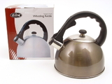 Stainless Steel 2.5 Litre Whistling Kettle - Black