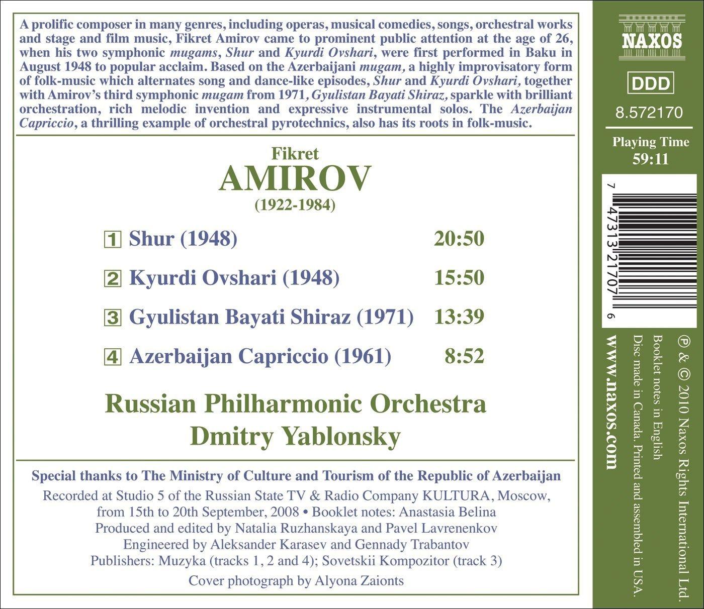AMIROV, F.: Shur / Kyurdi Ovshari / Gyulistan Bayati Shiraz / Azerbaijan Capriccio (Russian Philharmonic, Yablonsky) image
