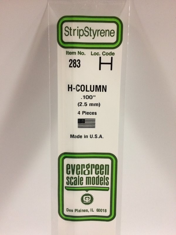 Evergreen Styrene H Column 35cm Long X 2.5 mm (4)