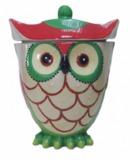 Owl Friends Cookie Jar - Green & Red