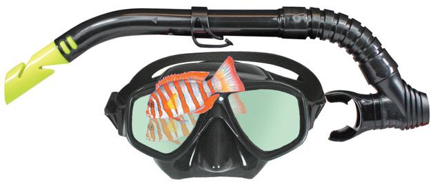 Land & Sea Black Mirror Platinum Series Mask and Snorkel Set