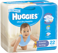 Huggies Ultra Dry Nappies - Crawler Boy 6-11kg (22)