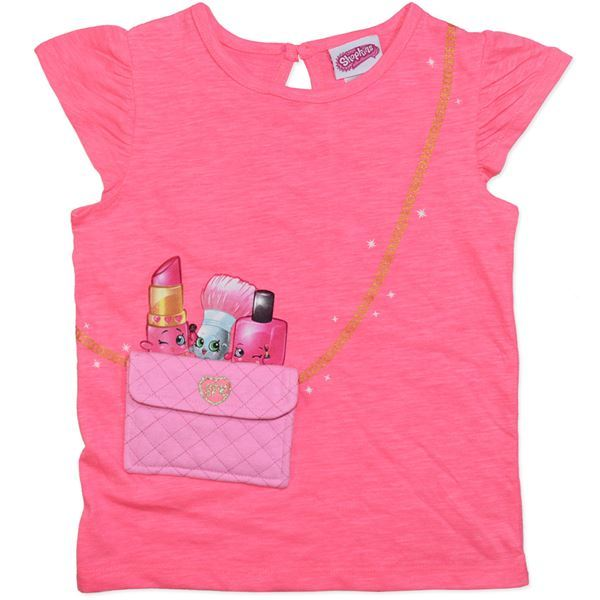 Shopkins Pink Pocket T-Shirt (Size 5) image