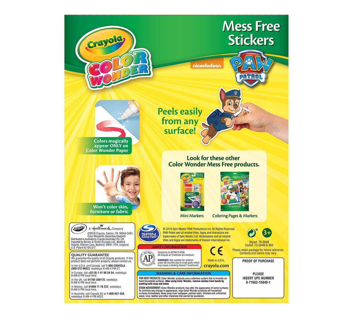 Crayola: Color Wonder Mess Free Sticker Set - Paw Patrol image