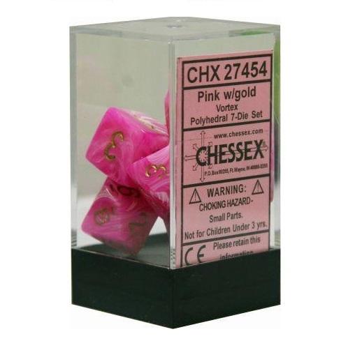 Chessex: Vortex Polyhedral Dice Set - Pink/Gold
