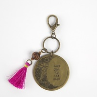 Natural Life: Brass Token Keychain - Love You Moon