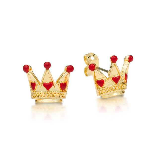 Couture Kingdom: Disney Queen of Hearts Stud Earrings - Yellow Gold