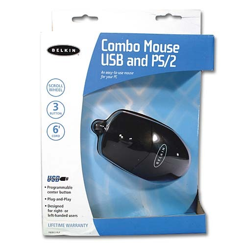 Belkin 3 Button Mouse with Scroll Wheel (PS/2 & USB  Combo) Black