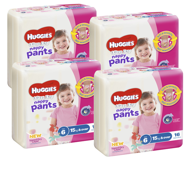 Huggies Ultra Dry Nappy Pants Convenience Value Box - Size 6 Girl 15+ kg (64)