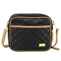 Isoki: Nappy Bag Finley Crossover Bag - Black/Tan Quilted