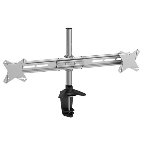 Brateck: Elegant Dual Horizontal LCD Monitor Table Stand w/Arm & Desk Clamp VESA 75/100mm Up to 27""