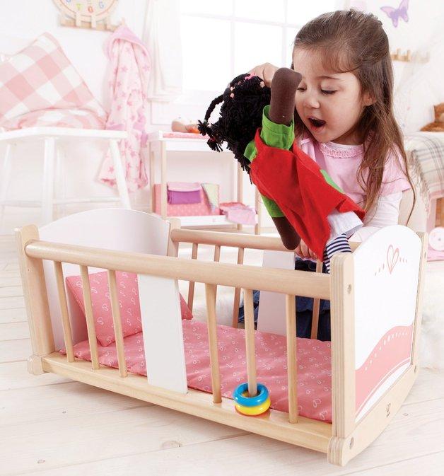 Hape: Rock-a-bye Wooden Baby Cradle
