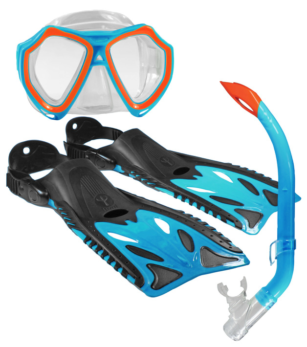 Land & Sea Nipper Mask/Snorkel/Fin Set - Junior Size 8-12 (Blue/Black/Orange)