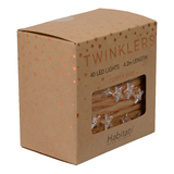 Twinklers: Indoor Warm White LED Lights - Copper Stars