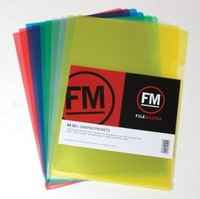 FM A4 L Shape Pockets - Assorted Colours (Pack 10)