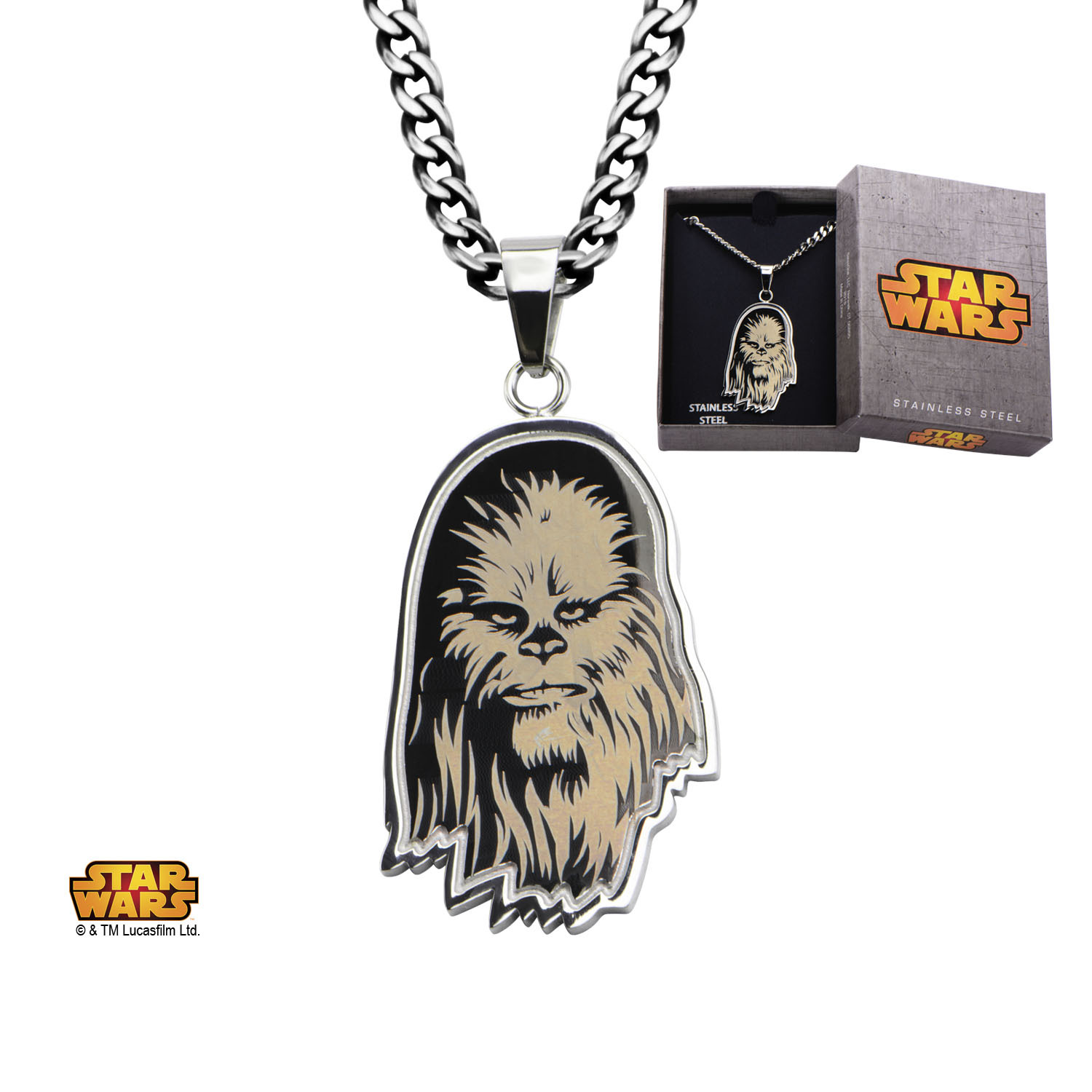 Star Wars Steel Etched Chewbacca Pendant Necklace image