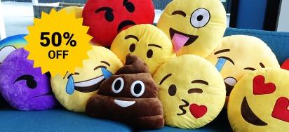 50% off Emoji Cushions!
