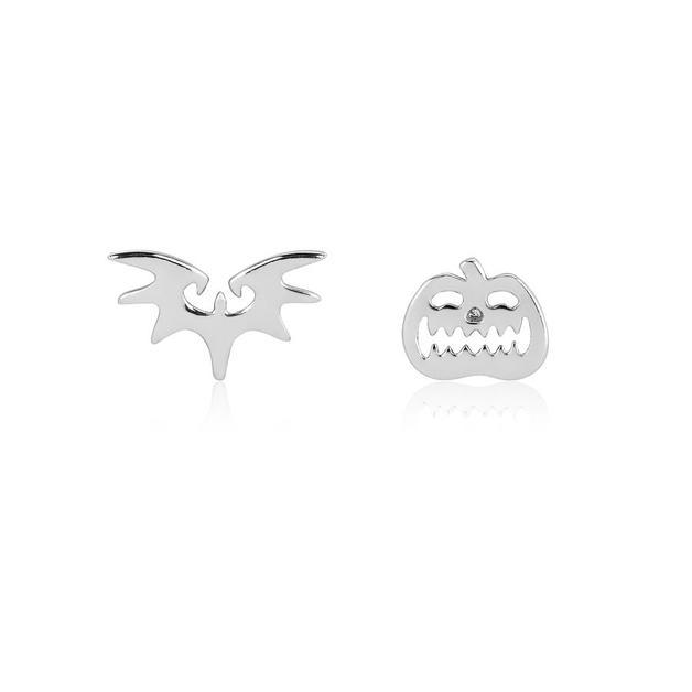 Couture Kingdom: NBC Bat & Pumpkin Mix-Match Stud Earrings - Silver