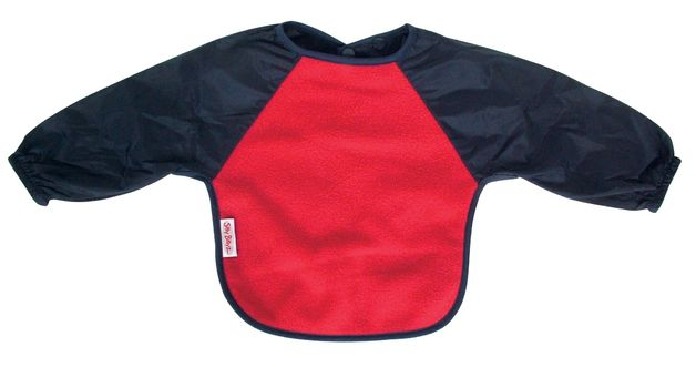 Silly Billyz Fleece Long Sleeve Baby Bib - Small (Red/Navy)