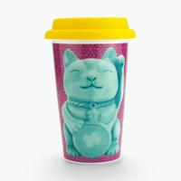 Mustard: Double Wall Ceramic Travel Mug - Lucky Cat