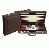"Dal Rossi Backgammon 18"" PU Leather - Brown"