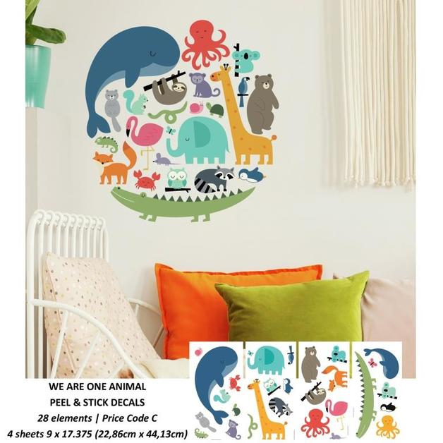 Room Mates: We are One Animal Peel and Stick Wall Decals - 4 Sheets