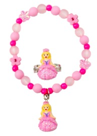 Great Pretenders - Pink Princess Ball Gown Bracelet & Ring