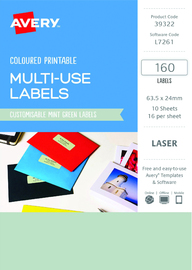 Avery L7261 Multi-Use Labels - Mint Green (10 Sheets/160 Labels)