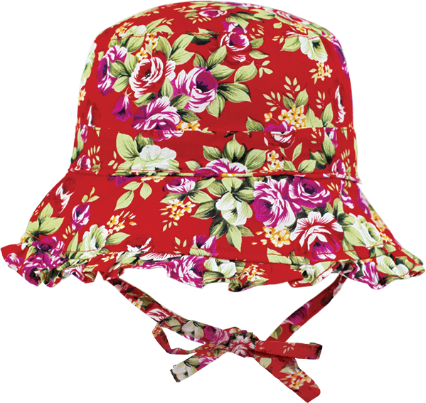 Black Ice: Bouquet Red Bucket Cap - (2-4 Years)