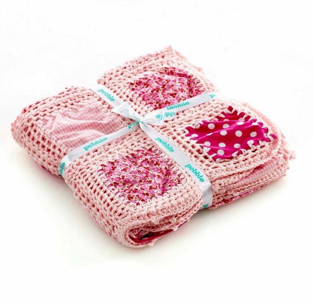 Pebble: Crochet Patchwork Blanket - Pink