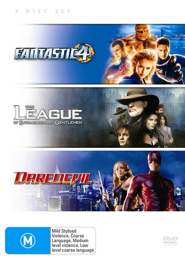 Fantastic 4 / League Of Extraordinary Gentlemen / Daredevil (3 Disc Set) on DVD image