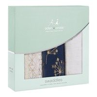 Aden + Anais: Metallic Swaddle - Gold Deco (3 Pack Swaddling Wraps)