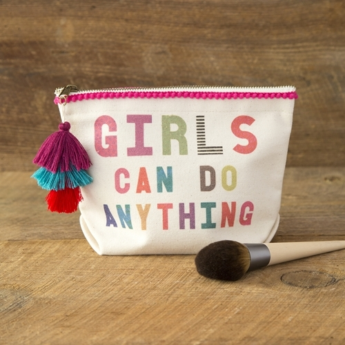 Natural Life: Canvas Cosmetic Pouch - Girls Can Anything