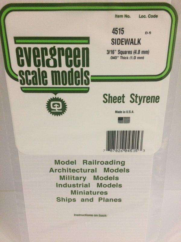 Evergreen Styrene Sidewalk 15X29cm X1 mm 4.8Sq