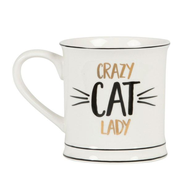 Metallic Monochrome Mug - Crazy Cat Lady