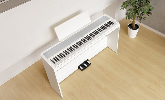Korg B2 Digital Piano White with triple pedal unit and stand