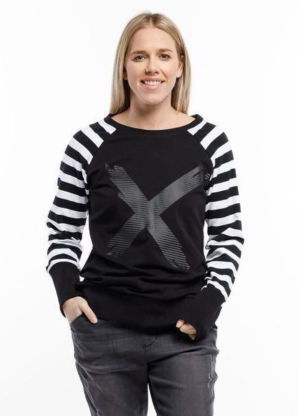 Home-Lee: Crewneck Sweatshirt - Black With Stripe Sleeves And X Print - 8