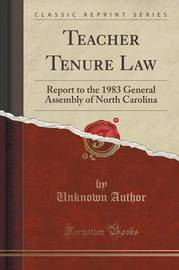 Teacher Tenure Law by Unknown Author