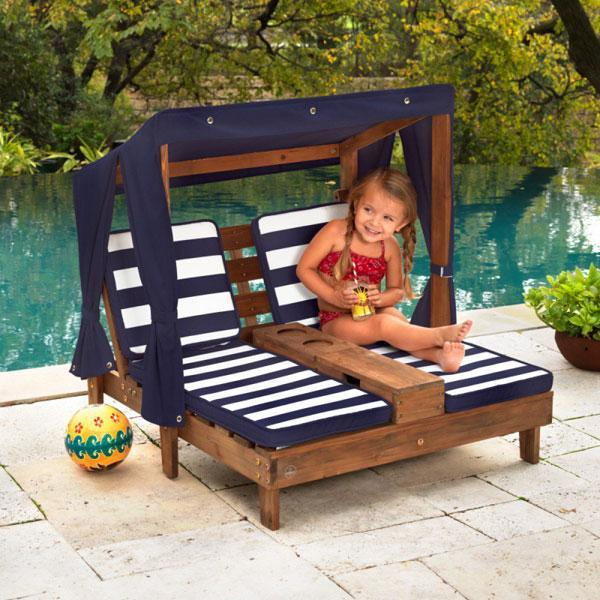 KidKraft - Double Chaise Lounge - Navy