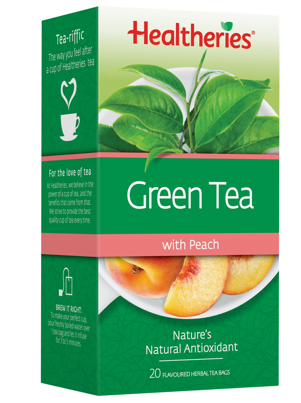 Healtheries Green Tea with Peach (Pack of 20) image