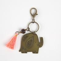 Natural Life: Brass Token Keychain - Flower Elephant