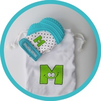 Mouthie Mitten Teething Mitten (Aqua Blue)