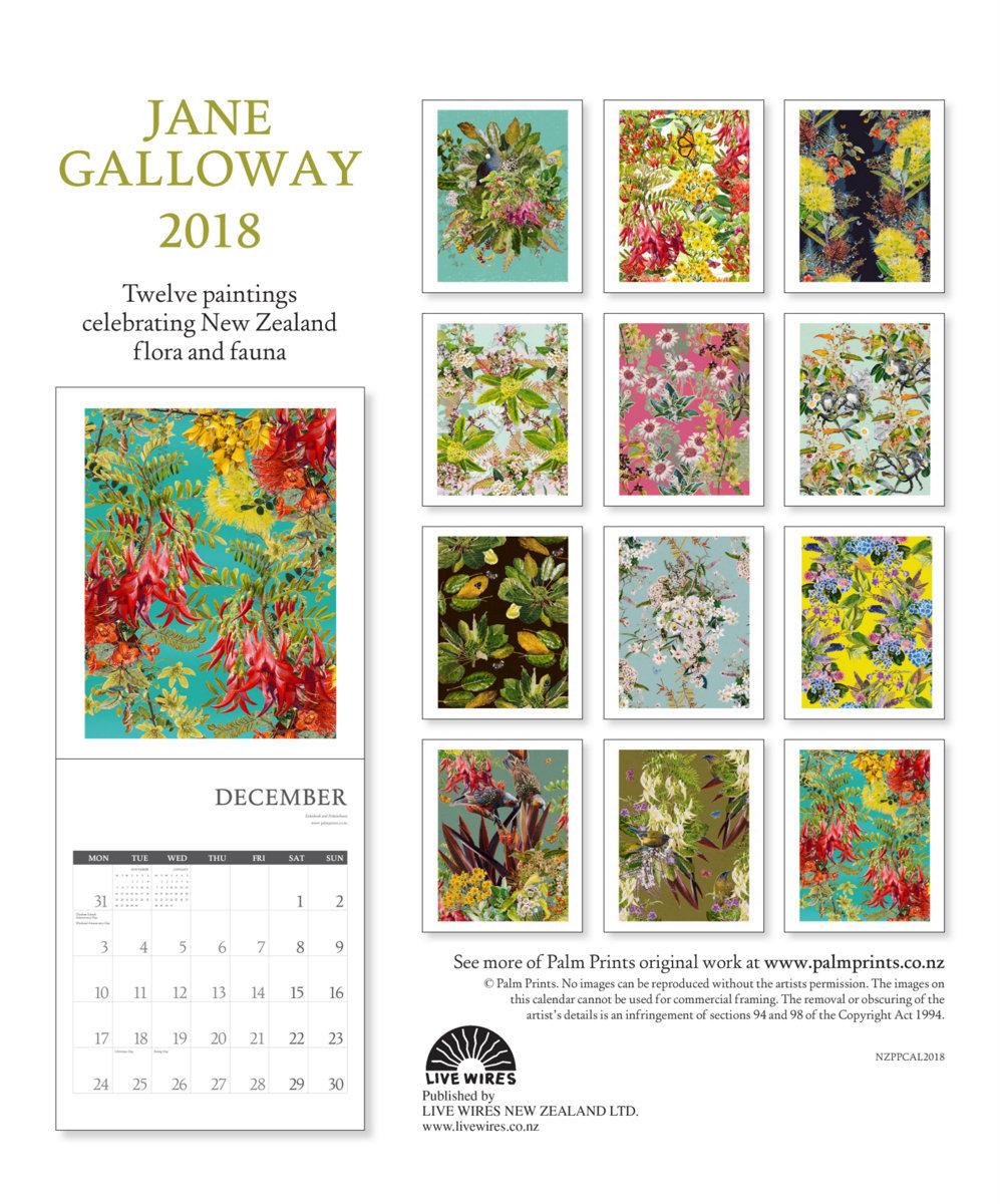 Buy Jane Galloway New Zealand 2018 Wall Calendar At Mighty Ape Nz Phone Wiring Image