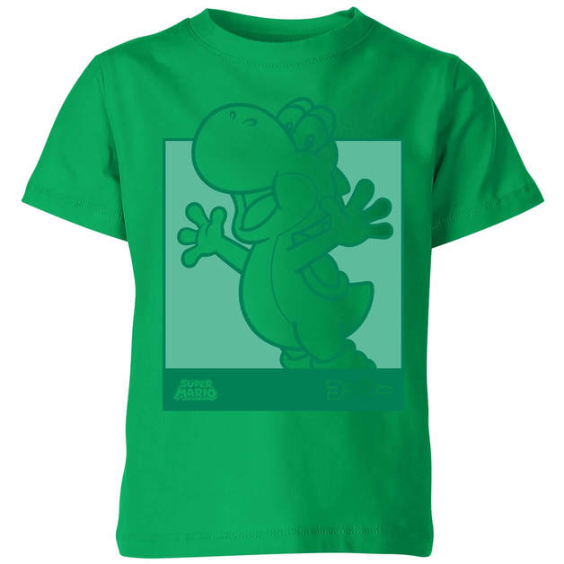 Nintendo Super Mario Yoshi Kanji Line Art Kids' T-Shirt - Kelly Green - 11-12 Years